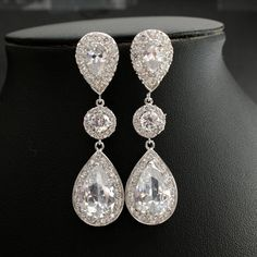 Bridal Jewelry Wedding Jewelry Bridal Earrings Silver Posts Large Clear Cubic Zirconia Teardrop Earrings Wedding Earrings on Etsy, $62.50