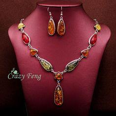 Online Shop Retro do Vintage das mulheres 18 k platina banhado âmbar jóias africano conjuntos de colar + brincos conjuntos casamento grátis frete|Aliexpress Mobile