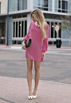 Sixties style pink shift with peter pan collar. Retro Inspired Streetstyle.