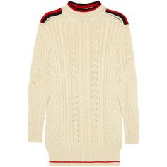 Isabel Marant Stripe-trimmed wool-blend sweater (€260) ❤ liked on Polyvore featuring tops, sweaters, cream, stripe sweater, relaxed fit tops, isabel marant, striped sweater and isabel marant top