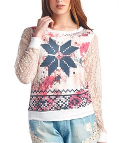 Loving this Off-White & Navy Snowflake Lace-Sleeve Top on #zulily! #zulilyfinds