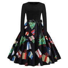 CLOOM-Damen-Weihnachtskleid-Rockabilly-Kleider-Vintage-Kleid -Abendgesellschaft- 97d562107d