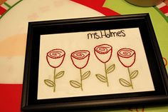 Embroidered doodles...i LOVE this!!!!! what a great, inexpensive idea for a gift that is sure to be loved!!!