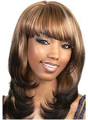 New Glamourous Medium Wavy Brown Full Bang African American Wigs for Women 16 Inch