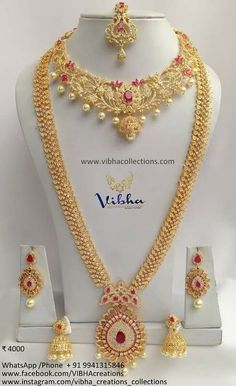 Indian Bridal Jewelry Sets, Silver Jewellery Indian, Bridal Jewellery, Ruby Necklace Designs, Jewelry Design Earrings, Antique Jewellery Designs, Fancy Jewellery, Gold Bridal Earrings, Gold Necklace