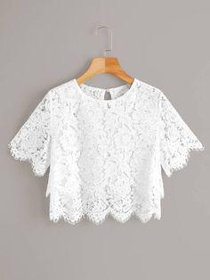 White Lace Scallop Hem Sheer Crop Blouse Source by cutespree lace top outfit Pop Fashion, Fashion Outfits, Fashion Black, Fashion Ideas, Vintage Fashion, Lace Crop Tops, White Lace Crop Top, White Lace Blouse, Crop Blouse