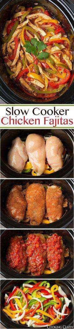 Slow Cooker Chicken Fajitas - these are easiest chicken fajitas yet they taste AMAZING!! My new go to recipe for fajitas.