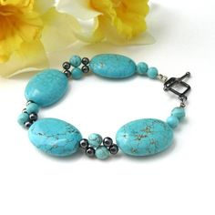 Aqua Turquoise Howlite Hematite Chunky Gemstone Bracelet Native OOAK | @Thesingingbeader - Jewelry on ArtFire
