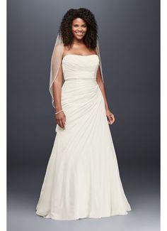 7ec4dad8830 Crinkle Chiffon Draped Plus Size Wedding Dress Style 9V3540, Ivory, 16W