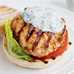 Harissa Turkey Burgers with a Watercress Tzatziki. If you fancy a burger but are also watching your weight, this recipe offers the perfect solution! Turkey Burger Recipes, Turkey Burgers, Hamburger Recipes, Veggie Burgers, Chicken Recipes, Tzatziki Recipes, Watercress Recipes, Tzatziki Sauce, Barbecue Recipes