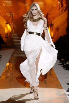 Beautiful white evening gown goddess dress with gold metal belt Asgard fashion