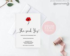 Floral Engagement Invitation  Floral Invitation