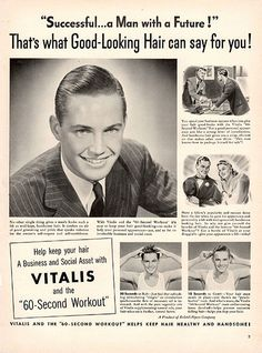 """1941 Vitalis Mens Hair Grooming Original Health and Beauty Print Ad -An original vintage 1941 advertisement, not a reproduction -Measures approximately 10"""" x 13"""" to 11"""" x 14"""" -Ready for matting and fr"""