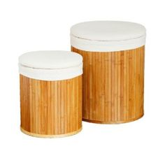 Premier Housewares Round Bamboo Laundry Hampers with Canvas Liners, Set of 2: Amazon.co.uk: Kitchen & Home