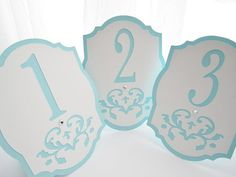 Wedding Table Numbers in Tiffany Blue and White - Damask Cutout - Choose Your Colors
