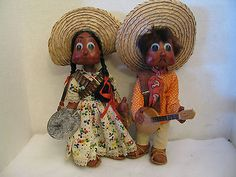 Vintage-Mexican-Oilcloth-Jointed-Dolls-Man-With-Banjo-and-Woman-With-Sombreros