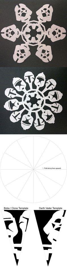 Star Wars Snowflakes & Templates ( http://ifitshipitshere.blogspot.ca/2010/12/star-wars-snowflakes-templates-to-make.html )