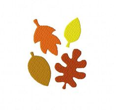 Autumn fall leaves Thanksgiving 3 inch machine embroidery design instant download by BelsEmbroidery