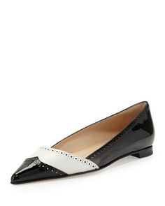 Agaflat Patent Wing-Tip Ballerina, Black/White by Manolo Blahnik at Neiman Marcus.