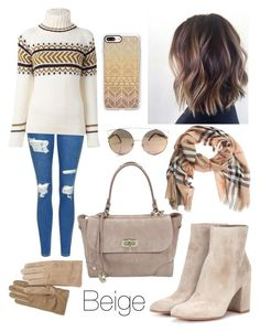 """""""Beige"""" by siri12345 ❤ liked on Polyvore featuring Topshop, &Daughter, Gianvito Rossi, Burberry, Casetify and A.P.C."""