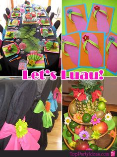 Picture 1-Luau Party Table Setting, Picture 2- Chairs decorated with chair sash for Luau Party, Picture 3- Luau Pineapple and Fruit Tiered Centerpiece, Picture 4 - Flip Flop Luau Invitations