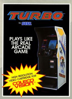 Turbo for Colecovision Box Art Vintage Video Games, Classic Video Games, Retro Video Games, Corporate Fonts, Retro Arcade Games, Pc Engine, Cold Brew Coffee Maker, Real Coffee, Old Games