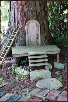 """Unusual fairy houses~ should build one of these at my mom's house! First lines from previous pinner. Do the Fairy house while Mom is visiting elsewhere.then """"Discover it"""" or let her do so. What a surprise. Fairy Garden Houses, Gnome Garden, Garden Art, Fairy Garden Doors, Fairy Doors For Trees, Mosaic Garden, Fairy Tree Houses, Fairy Village, Gnome House"""