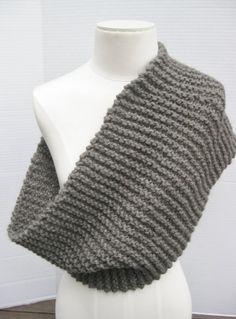 Knit wool long cowl charcoal grey