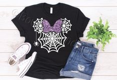 Excited to share this item from my #etsy shop: Spider Minnie Tee-Shirt - Disney Vacation - Halloween - Mickey's Not So Scary Halloween Party - Vinyl - For Family