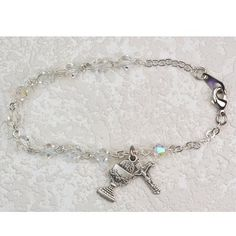 """Great for First Communion, 6.5"""" Rosary Girls Bracelet, 5mm Crystal Beads with Sterling Silver Chalice & Crucifix Cross Charms. Hail Mary Gifts,http://www.amazon.com/dp/B00BD595WA/ref=cm_sw_r_pi_dp_qKaLrb2039AE408F"""