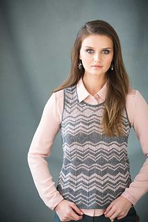 The dynamic chevron striping on Tobita's sleeveless top looks unexpectedly soft and feminine in Universe, Universal Yarn's glistening cotton/linen blend. Worked seamlessly with gentle A-line shaping, it features narrow garter-stitch borders. Short rows shape the diamond insets placed where the chevron pattern transposes direction.