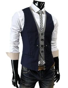 Amazon.com: TheLees Mens premium layered style slim vest waist coat: Clothing