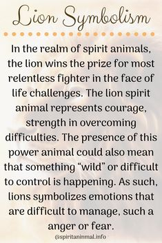 Lion Spirit Animal In the realm of spirit animals, the lion wins the prize for most relentless fighter in the face of life challenges. The lion spirit animal represents courage, strength in overcoming difficulties. Spirit Animal Tattoo, Butterfly Spirit Animal, Lion Spirit Animal, Whats Your Spirit Animal, Animal Spirit Guides, Animal Tattoos, Lion Symbolism, Animal Symbolism, Frases