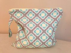 Wet Bag with Handle - 14x14 - grey, lemon and mint geo rose print with lemon zipper