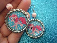 Pinkie Pie My Little Pony bottle cap earrings with by indieodyssey
