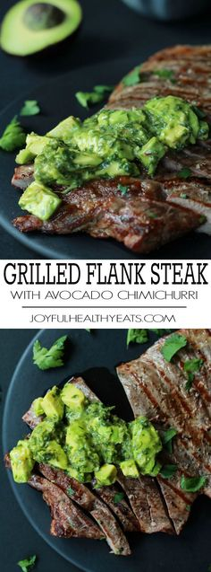 Juicy Grilled Flank Steak topped with a fresh Avocado Chimichurri, done in 15 minutes - it's grilling made simple but still full of flavor! De-lish! #letscook
