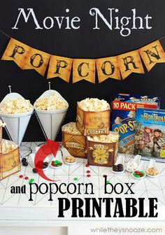 While They Snooze: Movie Night with Free Popcorn Box Printable