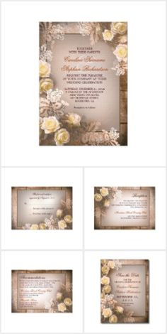 Victorian Roses Wedding Set Romantic victorian roses and old rustic wood background, vintage wedding invitation, RSVP cards, save the date postcards, reception cards, thank you cards, postage, and envelopes. Perfect invites for classic yet vintage wedding.