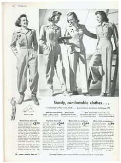 """""""Sturdy, comfortable clothes"""" 1940s"""