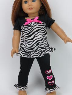 6ddbded18 Trendy Dolls - 18 in Doll Triple Heart Pant Set. Fits American Girl Dolls. Zebra  Print ...