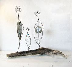 Mother Daughter Grandmother Wire Sculptures - Rustic Folk Art Sculpture - Three Generations - Driftwood Beach House Decor via Etsy Rustic Sculptures, Wire Sculptures, Sculpture Stand, Sculpture Art, Wire Crochet, 3d Studio, Art Series, Wire Art, Beach House Decor