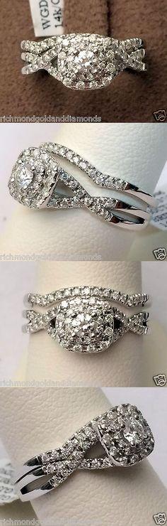 Diamonds and Gemstones 92909: 14K White Gold Halo Vintage Round Cut Diamond Engagement Bridal Wedding Ring Set -> BUY IT NOW ONLY: $799.95 on eBay!