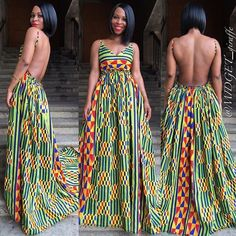 """😱""""Watch her leave"""" maxi dress in Kente is heading your way. 😊 Shop our new summer collection via www. Ankara Dress Styles, African Print Dresses, African Fashion Dresses, African Dress, African Prints, Ankara Fashion, African Inspired Fashion, African Print Fashion, Africa Fashion"""