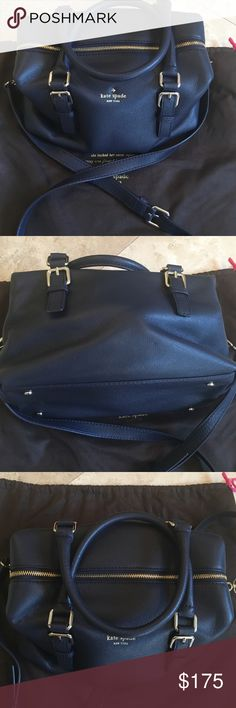 Kate Spade Blue Leather Handbag Kate Spade brand new never worn navy blue leather handbag with gold writing and hardware. Has two straps you can use or has a long crossbody strap. Comes with tag and dust bag. If you have any questions please ask. Thank you for viewing. kate spade Bags Totes
