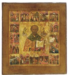 A VITA ICON OF ST. NICHOLAS -   RUSSIAN, 19TH CENTURY -  Portrayed half-length, blessing and carrying the inscribed Gospels with his left veiled hand, the full-size figures of Christ and his Mother in almond-shaped glories offering the saint his attributes, surrounded by sixteen scenes, each narrating an event from the saint's life, painted in detail with bright colours  14 x 12 3/8 in. (35.5 x 31.5 cm)