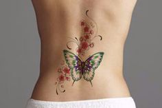 Temporary Tattoo, Large Tattoo, Tattoo Flash, Back Lower Back Watercolor Art Jewelry Flower Roses Floral Vintage Traditional Fake Colorful