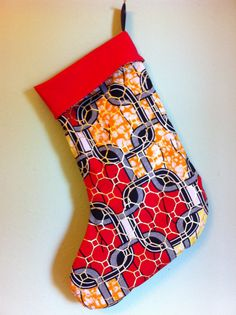 African Wax Print Christmas Stocking Red Multi by MoreLoveMama, $20.00