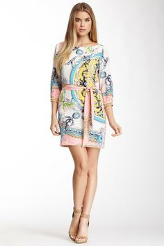 Silk Boatneck Printed Dress on HauteLook