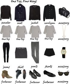 """one top, four ways"" by tomorrowsparties on Polyvore - great for a capsule wardrobe"