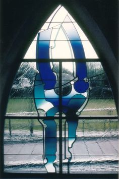 """Ludwig Schaffrath - My latest discovery was the Gelöbniskirche und Wallfahrtskirche """"Maria Schutz"""" in Kaiserslautern. Installed in 1998/2000, there are gorgeous blue and green windows lining the hallway (or Kreuzgang) along the outside of the church and uplifting clear and amber pieces aloft in the sanctuary itself."""